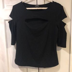Black top with chest and arm slit cutouts